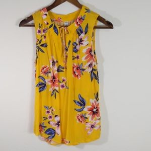 Old Navy Floral Golden Yellow Tank Top Size S